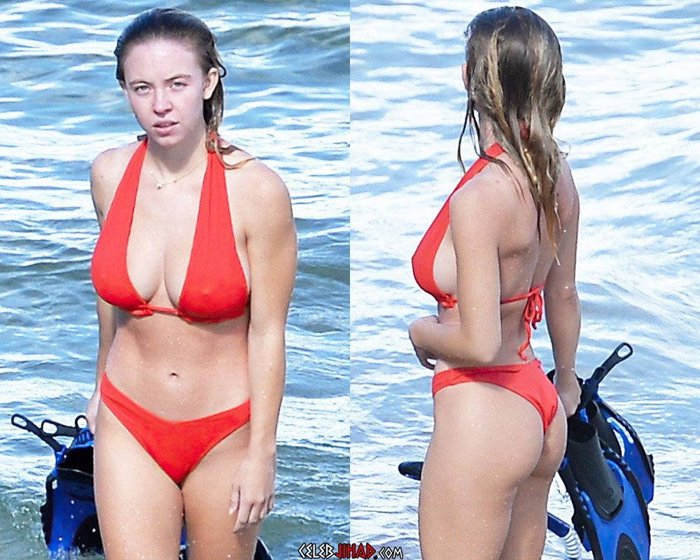 Sydney Sweeney Makeup Off, Tits And Ass Out Bikini Pics